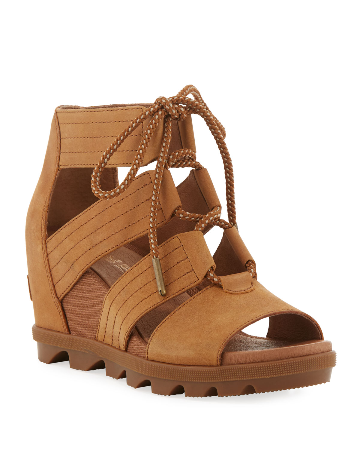 Sorel Sandals JOANIE II LACE-UP LEATHER WEDGE SANDALS