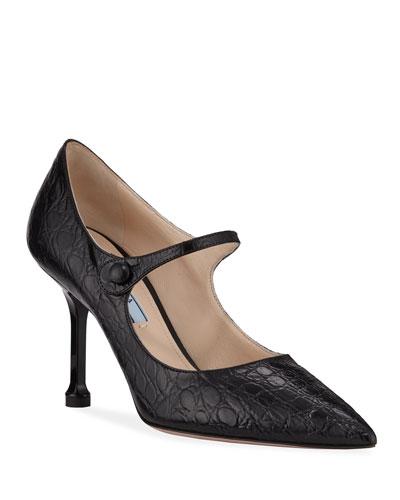 Croc-Embossed Mary Jane Pumps, Black
