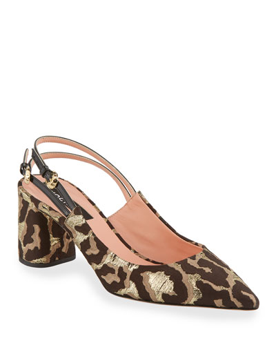 Cheetah Brocade Pointed Pumps