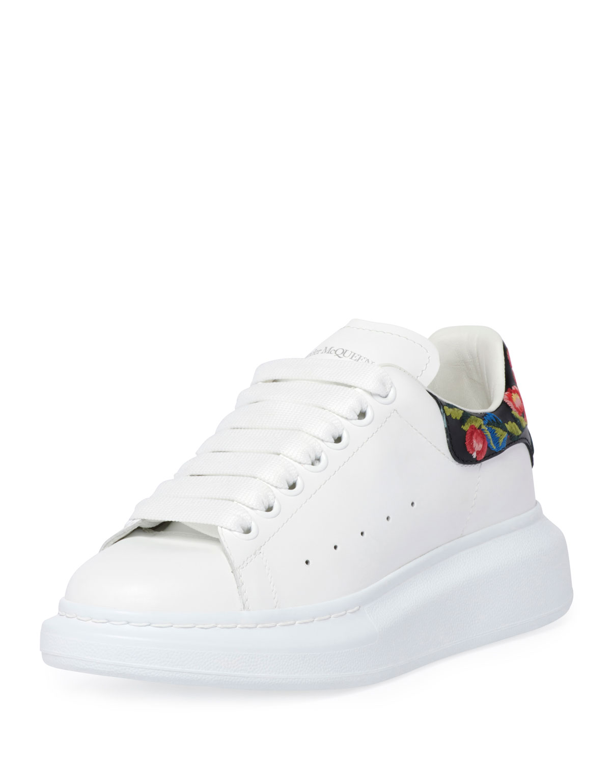 Platform Leather Sneakers With Flower Back in White Pattern