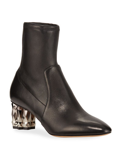 Camelia Metallic-Heel Leather Booties