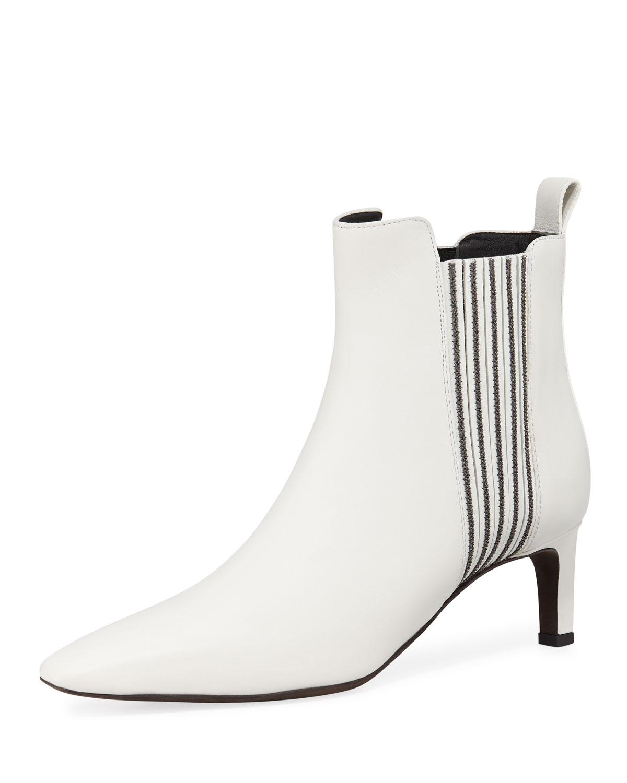 Brunello Cucinelli Boots MONILI BEADED CALF LEATHER BOOTIES