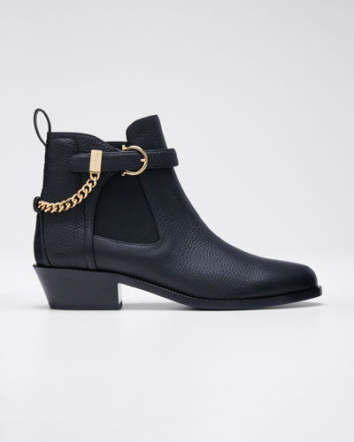 Ardisie Pebbled Leather Chain Booties