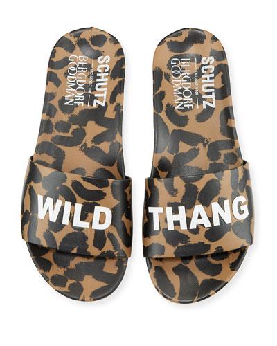 Women Leopard Camouflage Faux Suede Adjustable Straps Slip-on Flat Sandals