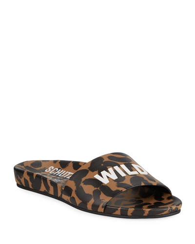 Wild Thang Leopard-Print Slide Sandals