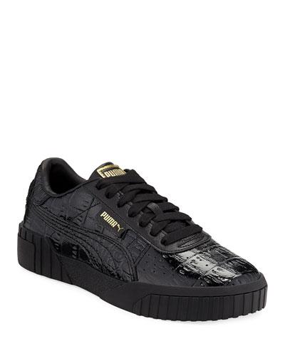Cali Croc-Embossed Patent Sneakers