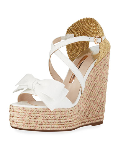 Bonnie Metallic Wedge Bow Espadrilles