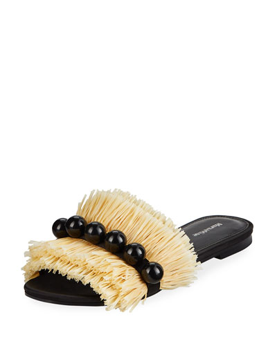 Annika Studded Raffia Slide Sandals
