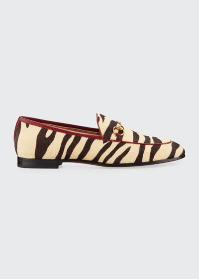 New Jordaan Zebra-Print Calf Hair Loafers
