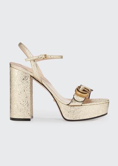 Marmont Metallic Block-Heel Platform Sandals
