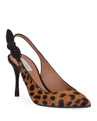 Millie Leopard Calf Hair Slingback Pumps