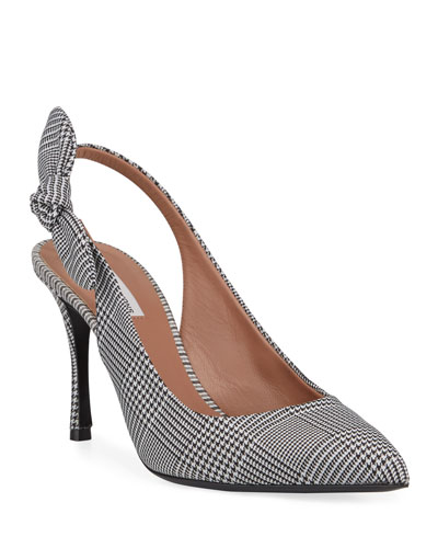 Millie Houndstooth Slingback Bow Pumps
