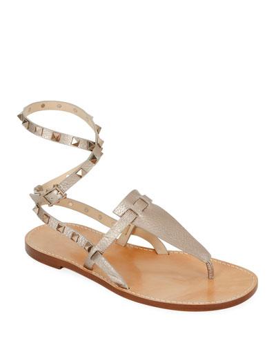 a79a906b1c33 Rockstud Alce Metallic Ankle-Wrap Thong Flat Sandals Quick Look. Valentino  Garavani