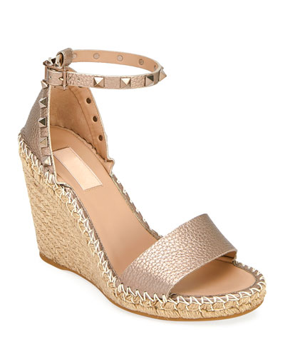 Rockstud Metallic Wedge Espadrilles