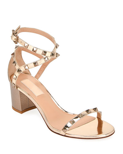 Rockstud Metallic Ankle-Wrap Sandals