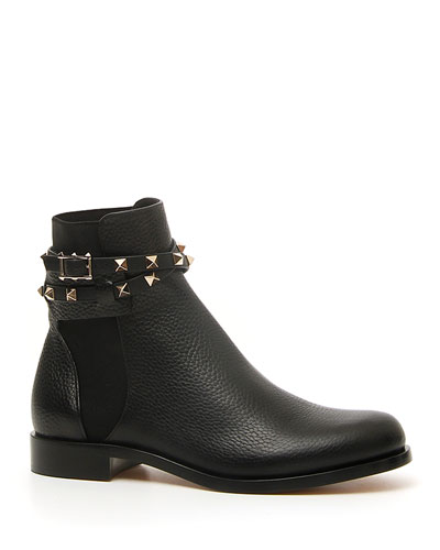 Rockstud Beatle Leather Ankle Boot