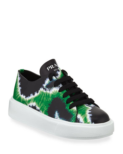 Tie-Dye Leather Platform Sneakers