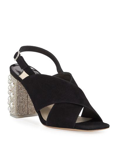 Nina Pearled-Heel Suede Sandals