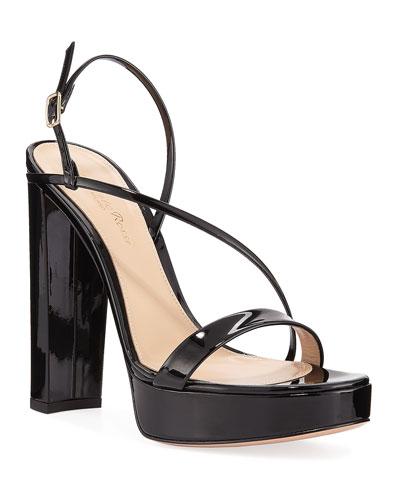Asymmetric Patent Platform Sandals