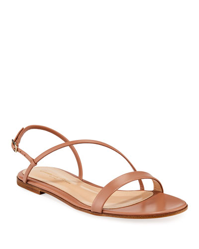 Strappy Asymmetric Leather Flat Sandals