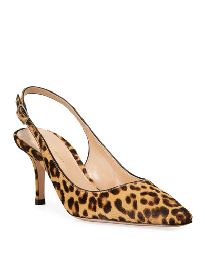 Leopard-Print Calf Hair Slingback Pumps