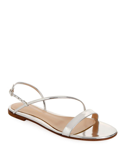 Metallic Flat Asymmetric Sandals