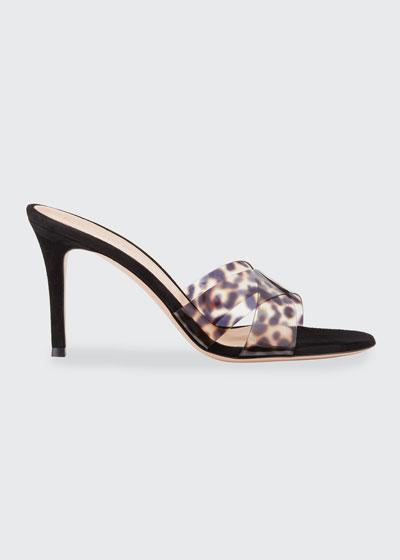 Leopard Vinyl Crisscross Mule Sandals