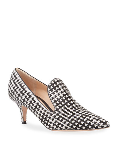 Houndstooth Kitten-Heel Loafer Pumps