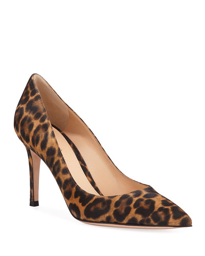 Gianvito 85 Leopard Suede Point-Toe Pumps