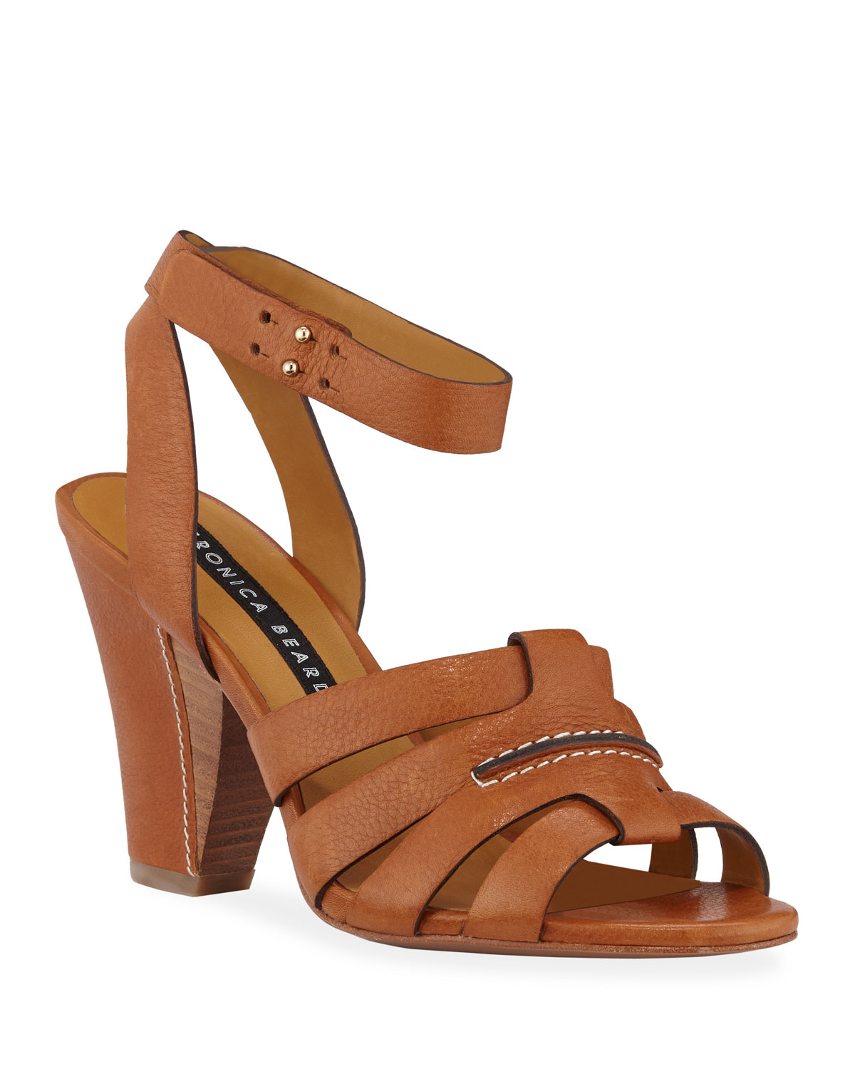 Veronica Beard Sandals CHARLEY LEATHER ANKLE-WRAP SANDALS
