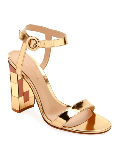 Metallic Mirrored-Heel Sandals