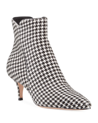 Levy Houndstooth Kitten-Heel Booties