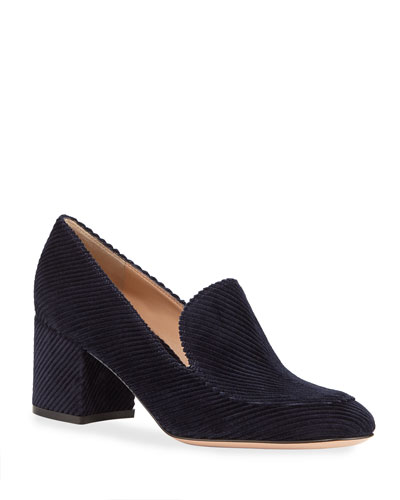 Corduroy Loafer Pumps