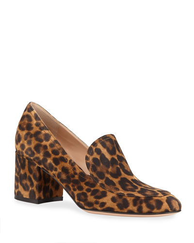 Leopard Suede Loafer Pumps