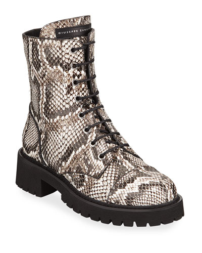 Python-Embossed Leather Combat Boots