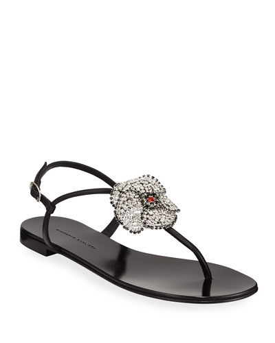 9e9578b8f Flat Thong Sandals with Crystal Flower