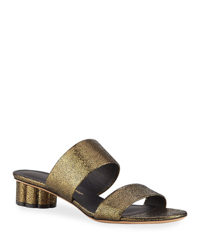 Belluno Metallic Two-Band Slide Sandals