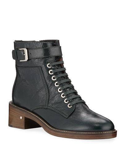 Solene Leather Combat Boots