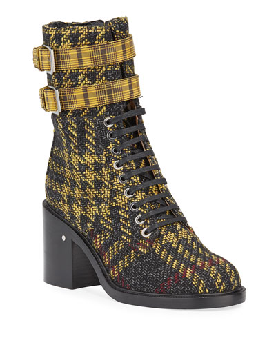 Pilar Lace-Up Tartan Belted Boots