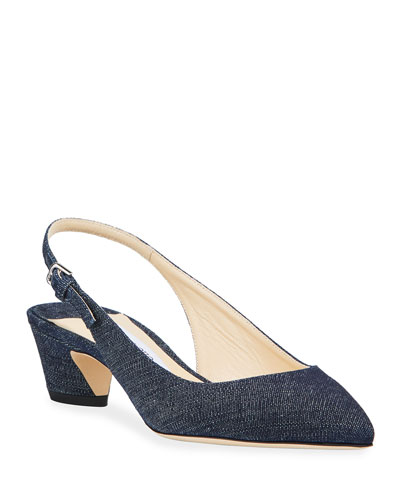 Gemma Low-Heel Denim Slingback Pumps