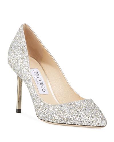 Romy Glittered Metallic-Heel Pumps