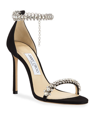 Shiloh High-Heel Crystal Anklet Sandals