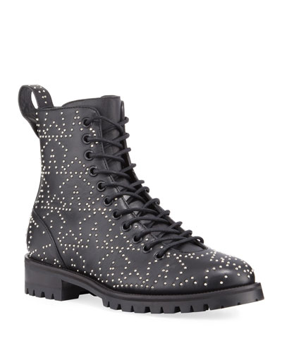 Cruz Star-Studded Leather Boots