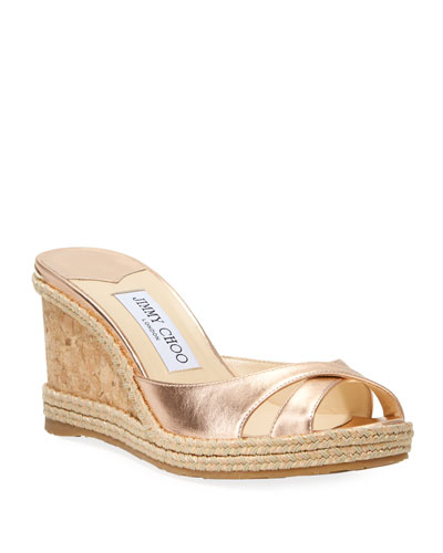 Almer Metallic Cork Wedge Sandals