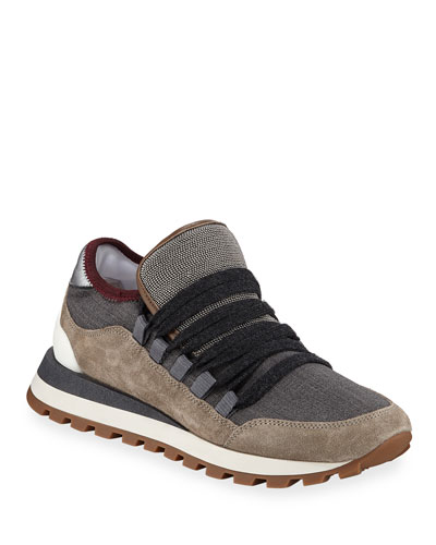 Mixed Leather and Fabric Sneakers with Monili Trim