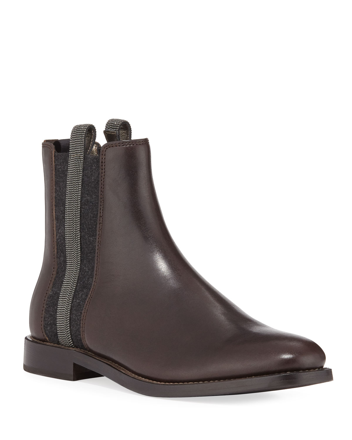 Brunello Cucinelli Boots CHELSEA LEATHER CASHMERE RIDING BOOTIES