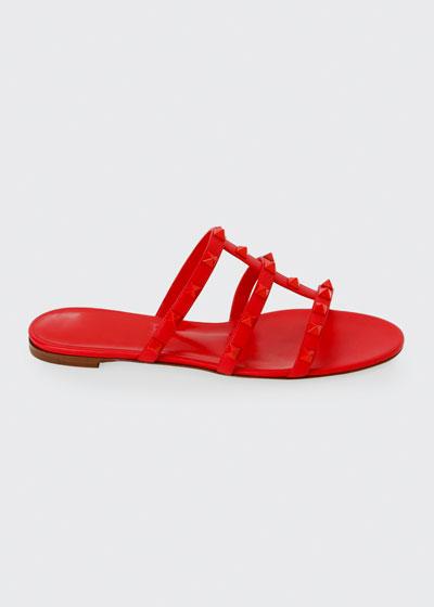 Tonal Rockstud Flat Leather Slide Sandals