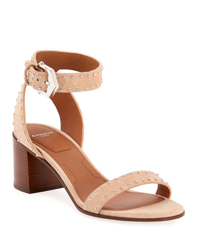 Split Suede Studded Sandals
