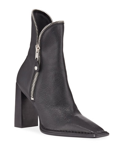 Lane Block-Heel Leather Zip Booties, Black