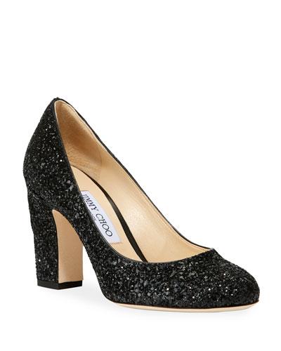 Billie Glittered Block-Heel Pumps